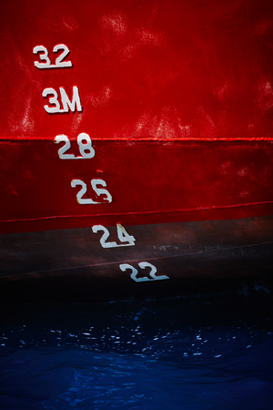 number, red ship, blue sea, limitation, dipping