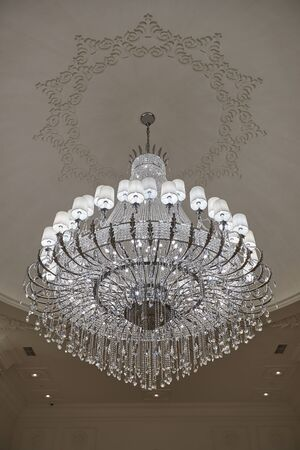 beautiful crystal chandelier in the wedding hall