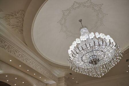beautiful crystal chandelier in the wedding hall