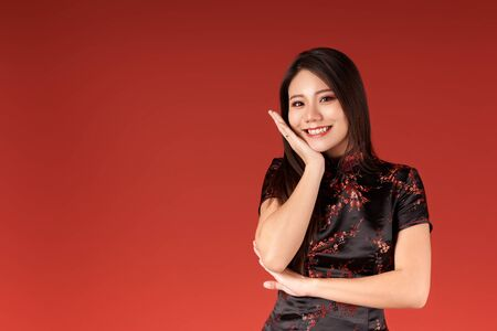 Korean emotional girl on a red background