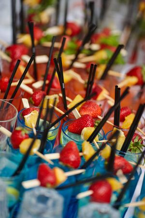 different fruit cocktails at the wedding table Reklamní fotografie