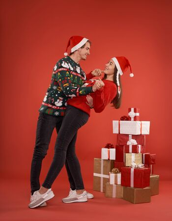 couple in love with Christmas gifts Stok Fotoğraf