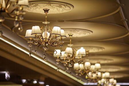Crystal chandelier in the wedding hall Reklamní fotografie
