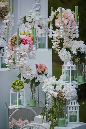 floristry, different types of flowers, wedding decoration, outdoor wedding
