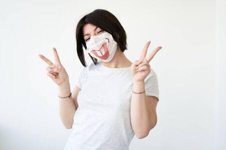А woman in a medical mask Reklamní fotografie
