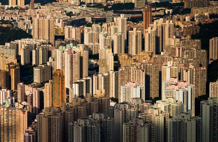 kowloon: Cityscape of Hong Kong as viewed from Kowloon Peak with Hong kong and Kowloon below Stock Photo