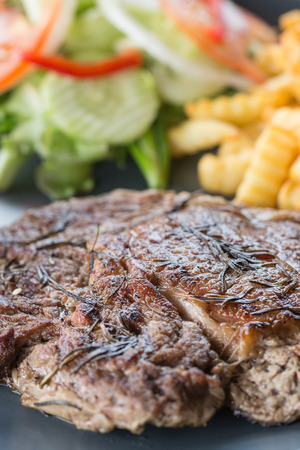 beefsteak: Rustic grilled beefsteak with french fries