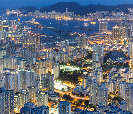 hong kong island: Hong Kong Island from Kowloon Stock Photo