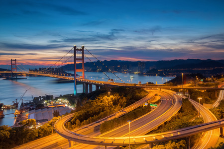 urban architecture: Night scenes of Tsing Ma Bridge,Hong Kong Stock Photo