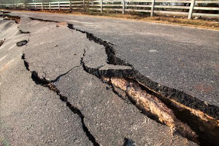 earthquake crack: Crack of asphalt road after earthquake Stock Photo