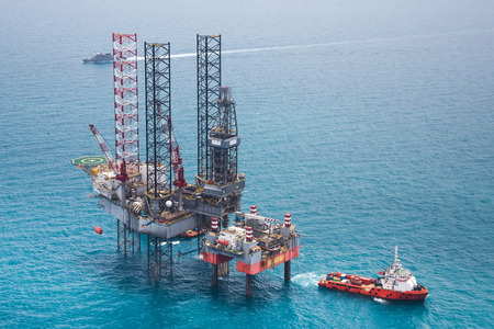 on boat: Offshore oil rig drilling platform Stock Photo