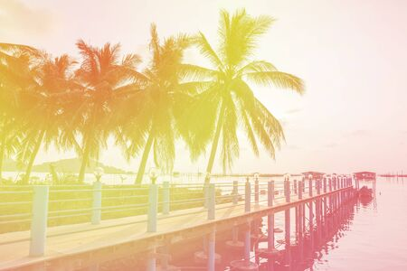 color tone: Palm trees silhouette on sunset tropical lake with pier and pathway with color tone Stock Photo