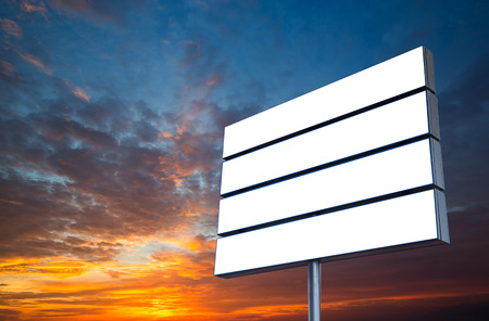 adboard: Blank Road Sign Isolated, Large White Frame Framed Roadside with colorful clouds and sky