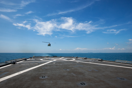 helicopter pad: Helicopter pad on the deck of a ship