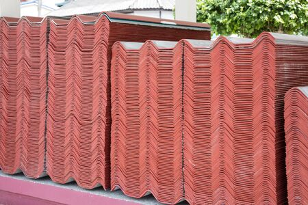 Details of roof tiles in construction site