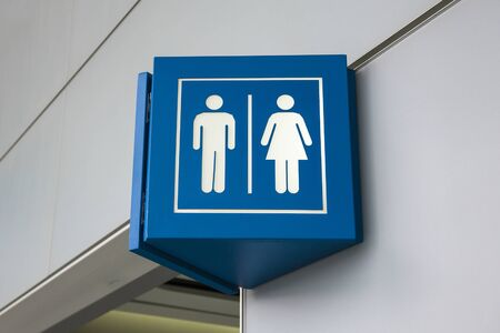 man and women wc sign: An entrance to the male and female toilet, toilet for the disabled Stock Photo