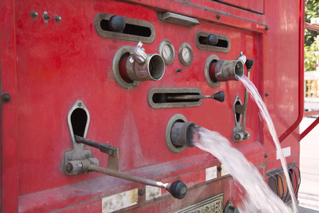 antique fire truck: Close up of dials and controls on old rusting fire truck Stock Photo