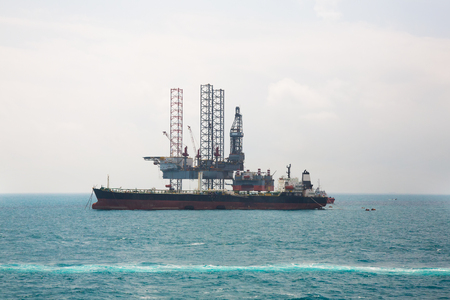 the gulf: Oil rig in the gulf Stock Photo