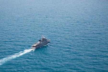 warship: Grey modern warship,aerial view