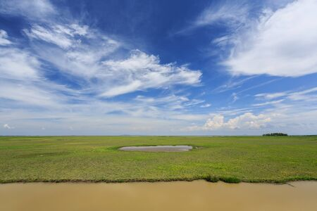 to dominate: Blue skies, white clouds, green grass, & open range land dominate in Thailand