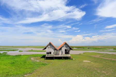 to dominate: Blue skies, white clouds, green grass, & open range land dominate in Thailand with abandoned hut
