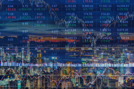 action fund: Double exposure of stocks market chart and Hong Kong city of business,concept