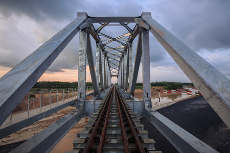 The steel structure of railway track Stock Photo