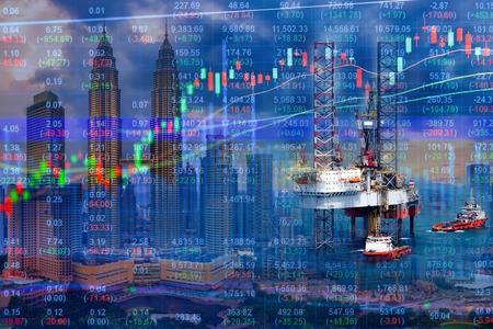 Effectenbeursconcept met booreiland en cityscape achtergrond
