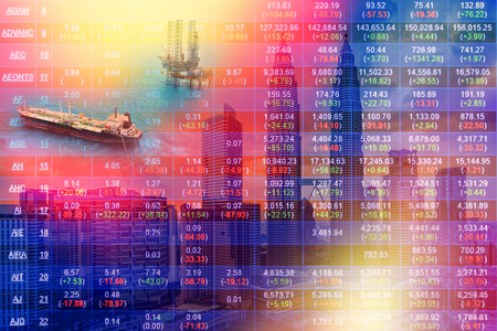 Stock market concept with oil rig and cityscape background