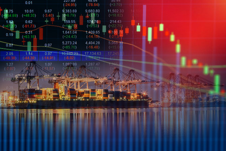 Stock exchange concept,container ship in import export and business logistic