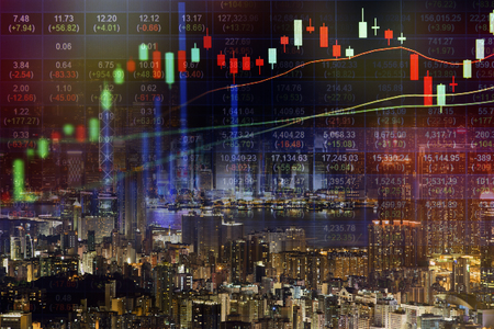 Stock market concept with cityscape background,real estate concept. Zdjęcie Seryjne