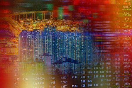 Economic crisis concept with cityscape background