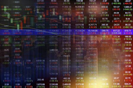 Stock market concept with cityscape background,Economic crisis Stock Photo