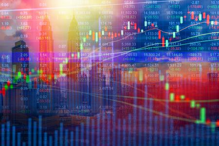 crisis economica: Stock market concept with cityscape background,Economic crisis Foto de archivo