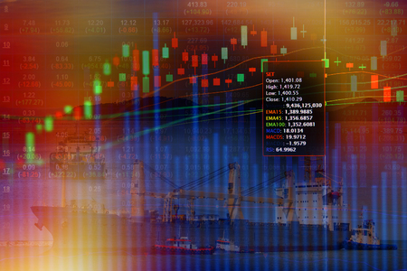 nautical   vessel: Double exposure of stocks market chart concept with International Container Cargo ship in the ocean, Freight Transportation, Shipping, Nautical Vessel,