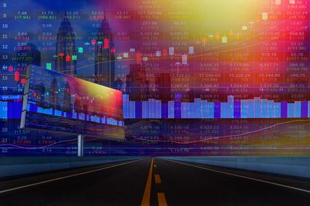 都市景観マレーシア背景とディスプレイ ・ コンセプトに株式市場のチャートの二重露光。
