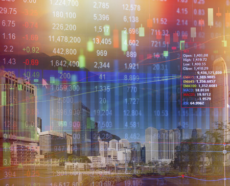 Stock market concept with cityscape background,real estate concept. Stock Photo