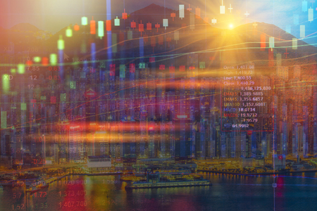 Stock market concept with cityscape background,real estate concept Imagens