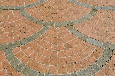 Brick paving stones on a sidewalk