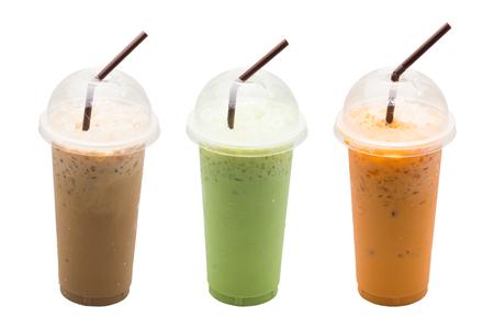 Iced coffee,Green tea milk,Milk tea put straw on white background Stock Photo