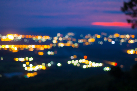 The Bokeh of light houses When viewed from a high peak in the evening.