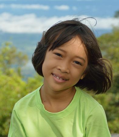 innocent: innocent and lovely Asian little girl, smiling little girl Stock Photo