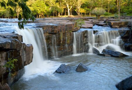 tourist attraction: beautiful waterfall, summer tourist attraction