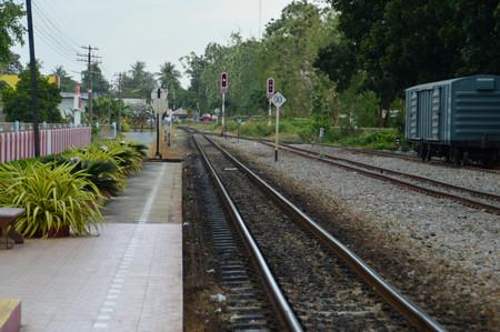 portage: platform of railway station Stock Photo