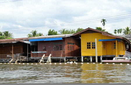 Amphawa, Thailand - December 31 : House on the banks of the Mae Klong River on December 31, 2015 in Amphawa, Samut Songkhram, Thailand.