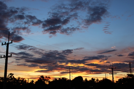 wayside: Colorful sky in the evening by the wayside  Stock Photo