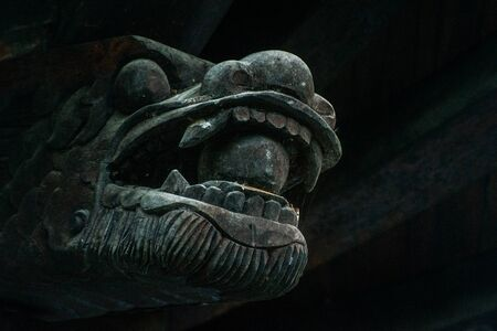 statuary: Dargon head sculpture