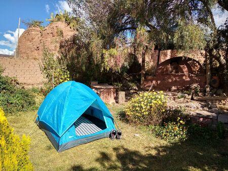 Tent in courtyard, Maras, Peru