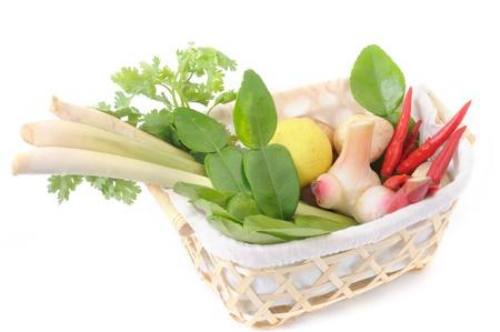 Ingrediënten voor hot and sour Thaise soep, Tom Yum Koong. Stockfoto