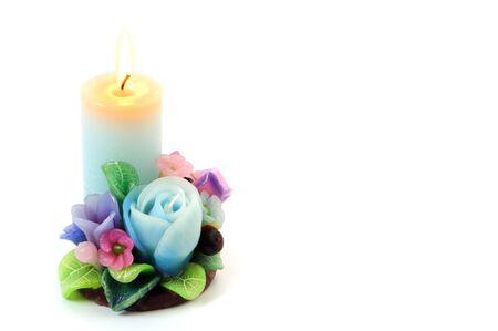 copy sapce: Flower candle